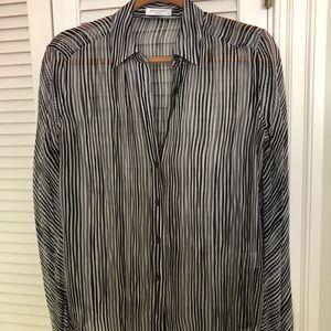Equipment striped sheer silk blouse